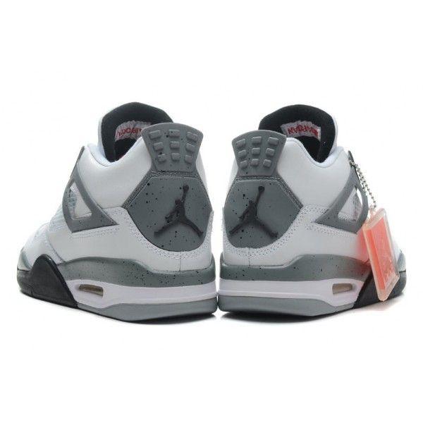 cheap air jordan 4 retro white black cement grey basketball shoes outlet sale