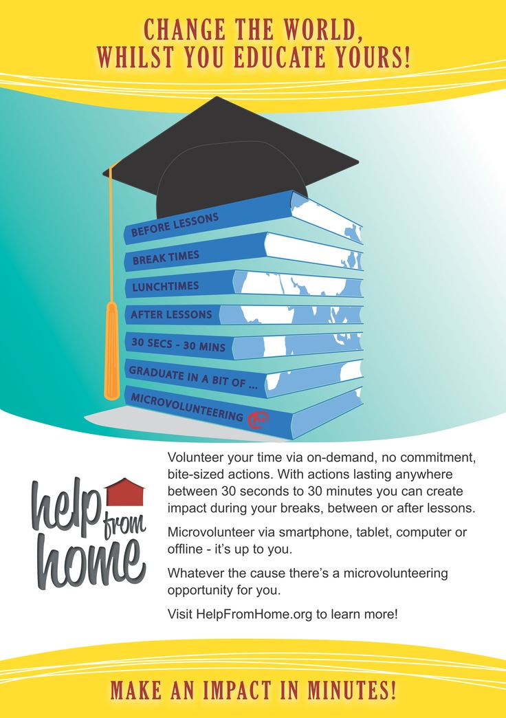 Use our freely downloadable A4 size poster to encourage a bit of bite-sized benevolence before, during, between or after lessons at the educational establishment you work or study in! http://helpfromhome.org/our-projects/help-from-school
