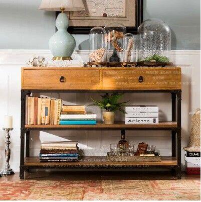 ¥1350.40  --- 80x40x75 --- 美式复古实木家具 汉尼顿双抽屉实木铁艺3层餐边柜-淘宝网