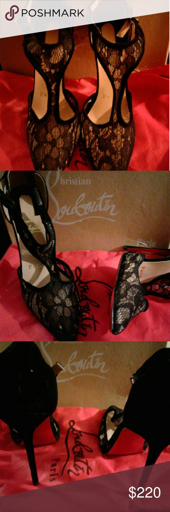 Red bottom shoes Lace strap around ankle Christian Louboutin shoe 4 inch heel. Shoes Heels