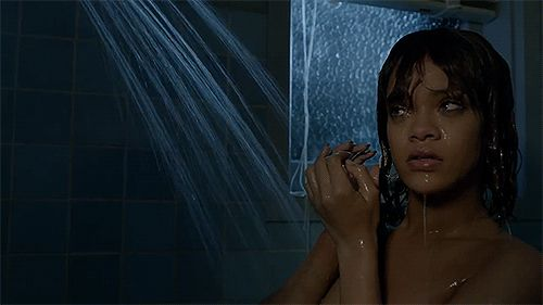 """#batesmotel #marioncare #rihanna  """"When you in the shower and hear a noise """""""