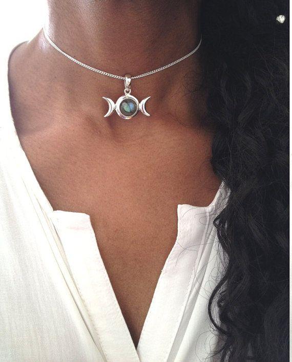 Silver Choker Necklace/ Labradorite Choker/ Triple Moon Goddess Necklace/ Boho Choker/ Sterling Silver Choker Necklace/ Gift For Her