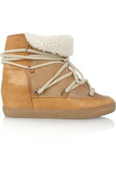Isabel Marant Nowles shearling-lined leather concealed wedge boots | NET-A-PORTER