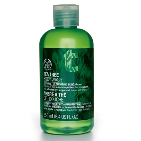 Tea Tree Body Wash: This refreshing, soap-free body wash is effective on blemished skin.