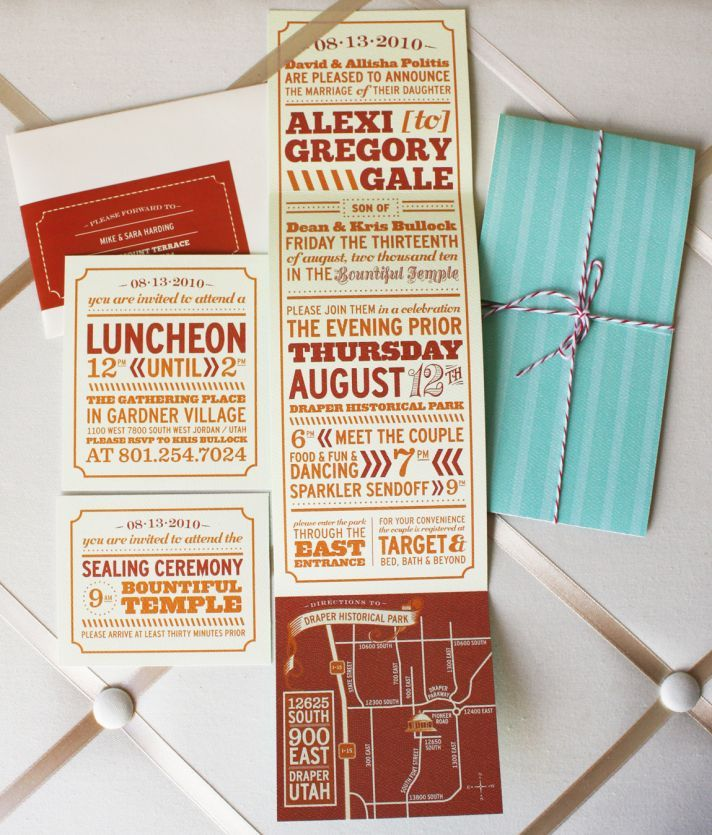 This whimsical wedding invitation suite uses turquoise, maroon, and orange as a surprising color sch