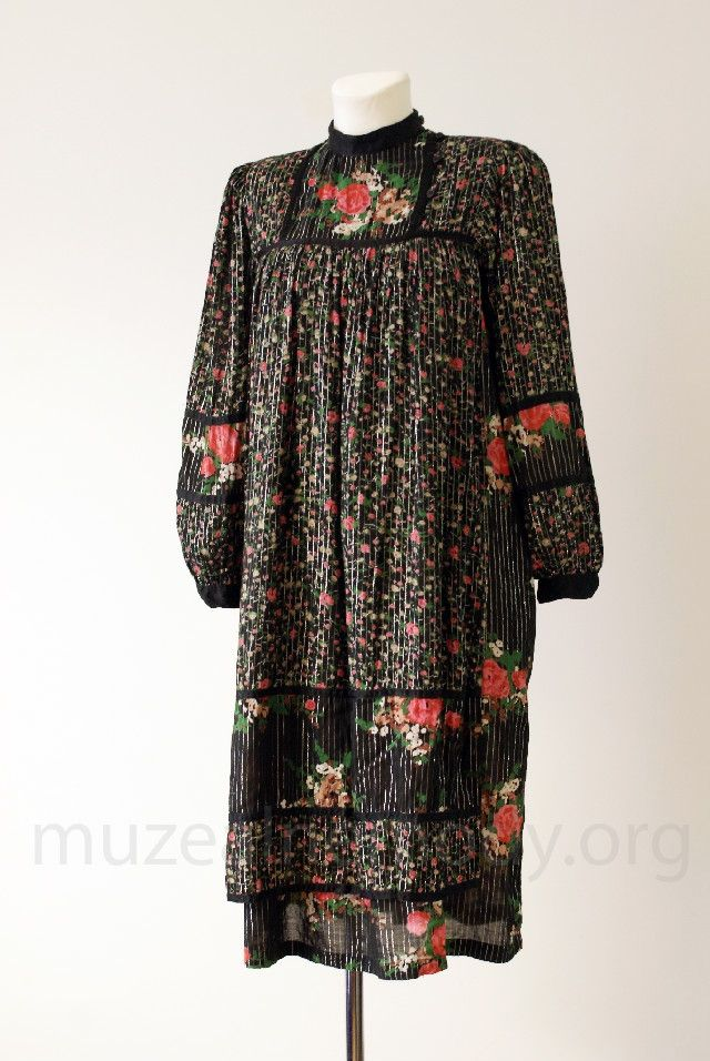 René DERHY, cotton boho dress, 1970s.