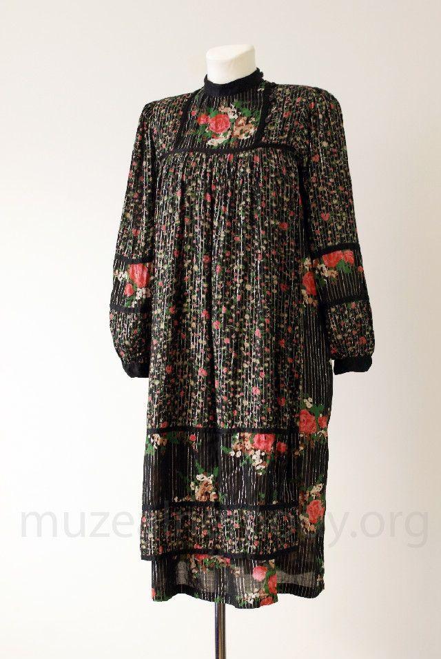 René DERHY, cotton boho dress, 1970s.