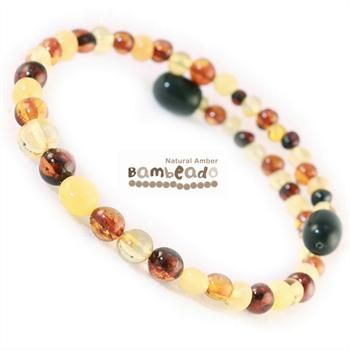 This bracelet is made from round baltic amber in a mixed colour. The bracelet is made from memory wire that retains it's shape when coiled around your wrist (a little like a slinky!). There is no need to fiddle with a clasp.While Bambeado amber comes in several colours, the colour is just a matter of personal choice. The colours may vary slightly from the images on the website due to variations in the amber beads. Each amber bracelet is unique