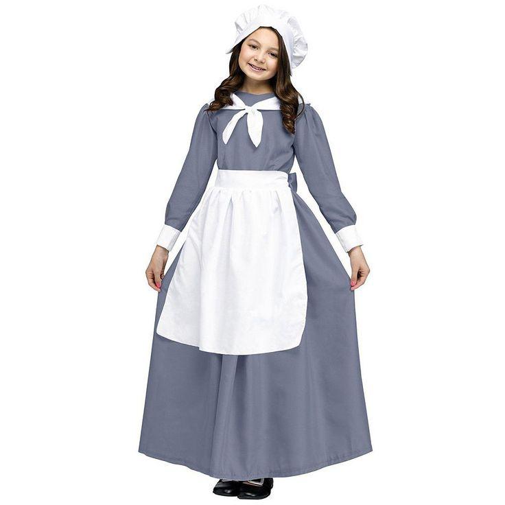 Pilgrim Costume - Kids, Girl's, Size: 12-14, Multicolor