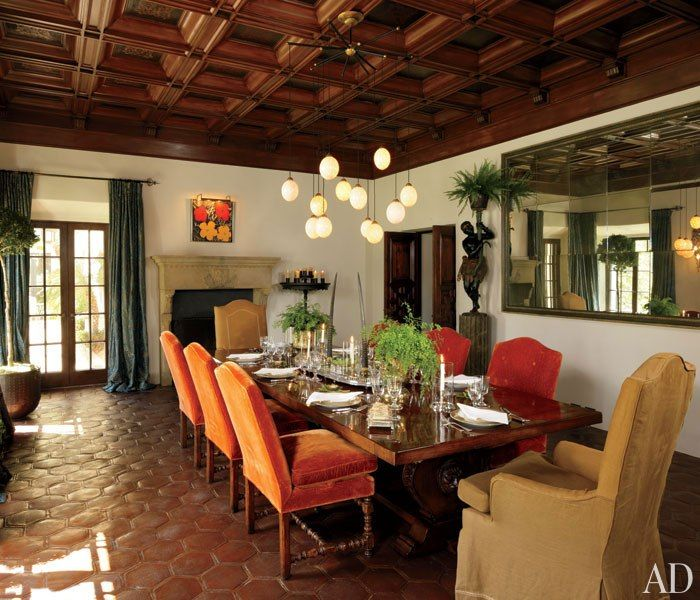 Lush Velvet Rooms A Vintage Italian Light Fixture Hangs Above Antique Dining Chairs Upholstered In A
