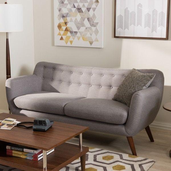 baxton studio melita midcentury modern fabric grey tufted sofa - Grey Tufted Sofa