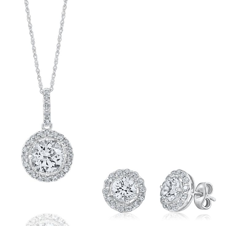 Smart Value® Lab-Created White Sapphire Gift Set in Sterling Silver by @Helzberg Diamonds Diamonds Diamonds Diamonds #earrings #necklace #jewelry #aislestyle Enter the Aisle Style Sweeps for a chance to win up to $3,000 in gift certificates from David's Bridal & Helzberg Diamonds! Enter now thru 9/2: http://sweeps.piqora.com/aislestyle Rules: http://sweeps.piqora.com/contests/contest/content/davidsbridal.com/310/rules
