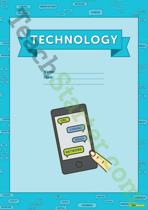 Teaching Resource: Technology vocabulary themed title page and vocabulary template.