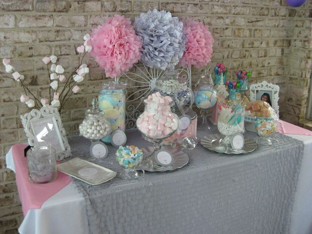 """Photo 4 of 17: Silver, white and pale pink / First Communion """"First Holy Communion Candy Buffet ~ girl""""   Catch My Party"""