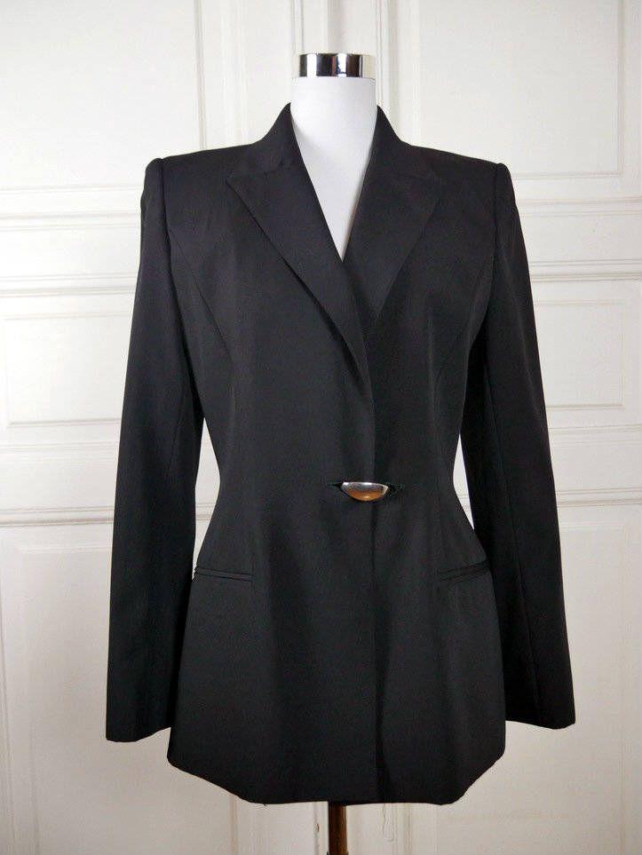 Italian Vintage Black Blazer, Claude Montana Single-Breasted Jacket w Unique Metal Clasp, Stylized Tuxedo Jacket: Size 8 US, Size 12 UK by YouLookAmazing on Etsy