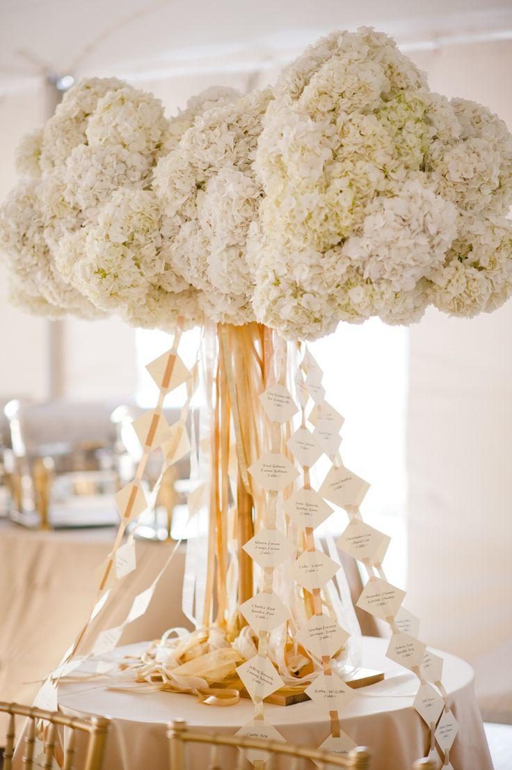 ホワイトのお花から垂れ下がるリボンが素敵! センスがいい白のエスコートカードまとめ。結婚式で使うエスコートカード・席札一覧。
