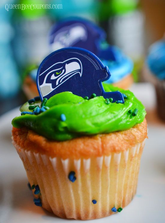 Seahawks Cupcakes - Seahawks Party Ideas - Seahawks recipes and decorations!
