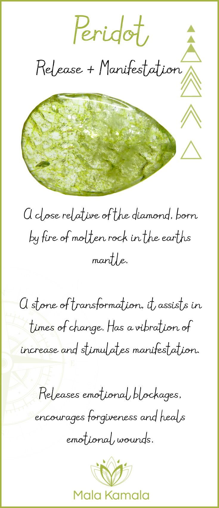 Pin To Save, Tap To Shop The Gem. What is the meaning and crystal and chakra healing properties of peridot? A stone for release, letting go and manifestation. Mala Kamala Mala Beads - Malas, Mala Beads, Mala Bracelets, Tiny Intentions, Baby Necklaces, Yoga Jewelry, Meditation Jewelry, Baltic Amber Necklaces, Gemstone Jewelry, Chakra Healing and Crystal Healing Jewelry, Mala Necklaces, Prayer Beads, Sacred Jewelry, Bohemian Boho Jewelry, Childrens and Babies Jewelry.