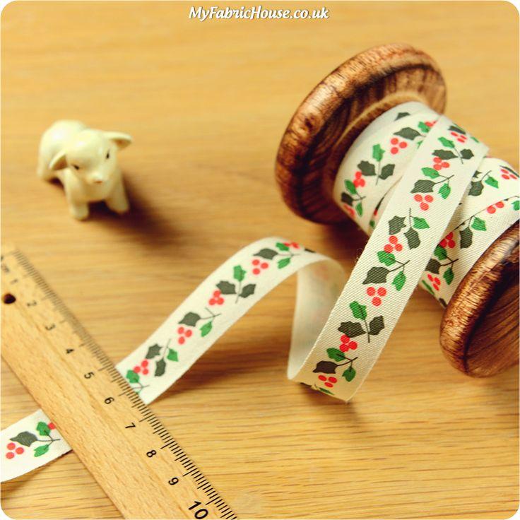 Christmas ♥ 3m Cotton Ribbon - Holly Leaves (15mm) £4.50