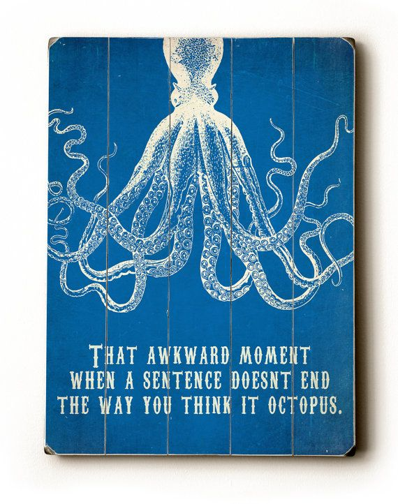 Wooden Sign Octopus Print Bathroom Decor Inspirational