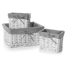 Wilko Set of 3 Baskests White