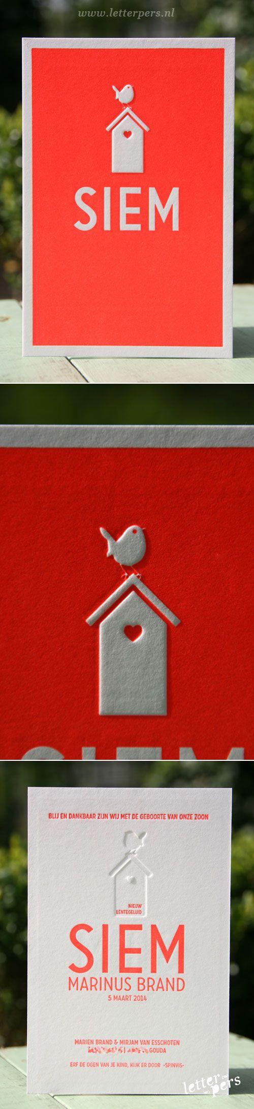 letterpers_letterpress_geboortekaartje_Siem_vogel_vogelhuisje_lief_stoer_relief_fluor_neon_rood