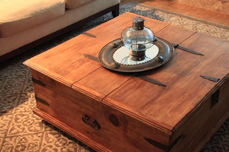 Refinished Rustic Storage Trunk Coffee Table Garage Sale