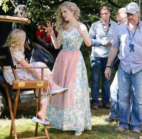 On the set of Cinderella. Hayley Atwell and Eloise Webb