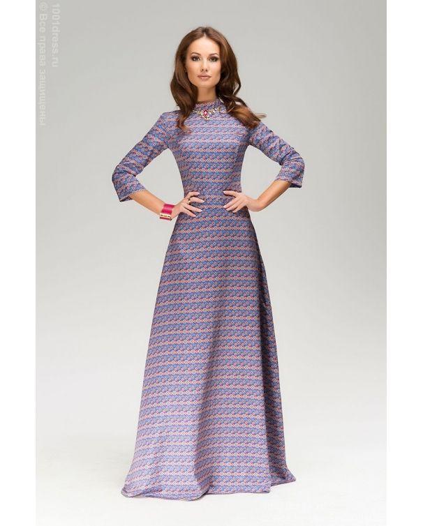 Фиолетовое платье длины макси с принтом и декорированное камнями в интернет-магазине 1001DRESS