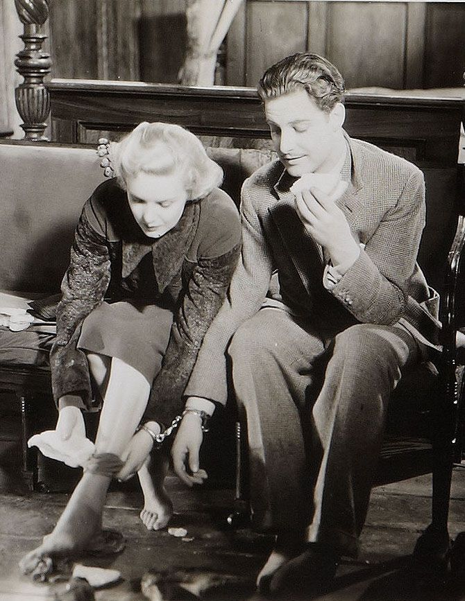 "Madeleine Carroll and Robert Donat in Alfred Hitchcock's ""The 39 Steps"" (1935)"