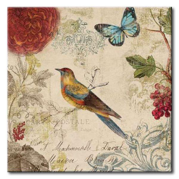 32_WlS60 _ Nature's Rhapsody I / Cuadro Flores, Pajaros y Mariposas, Vintage
