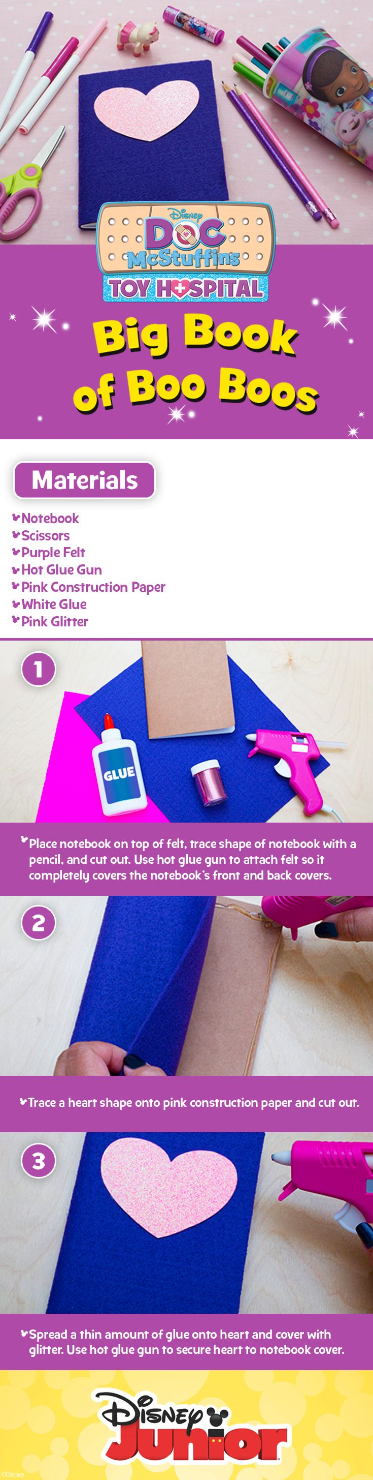 Doc McStuffins DIY Big Book of Boo Boos Craft   Just in time for back to school! Create your version of these two crafts to add a fun twist to your kids' notebooks!