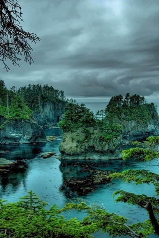 Cape Flattery, Washington. Cape Flattery is the northwesternmost point of the contiguous United States. It is in Clallam County, Washington on the Olympic Peninsula, where the Strait of Juan de Fuca joins the Pacific Ocean. (V)