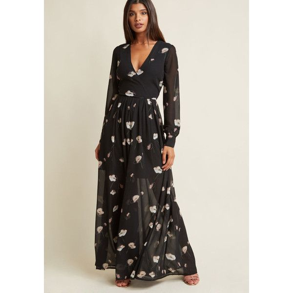 Marveled Mystique Floral Maxi Dress (€68) ❤ liked on Polyvore featuring dresses, floral chiffon dress, cross over dress, surplice maxi dress, flower print dresses and sheer sleeve maxi dress