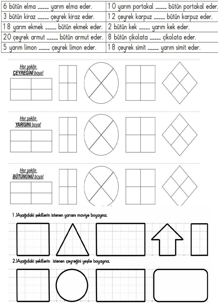 2. Sınıf Matematik Etkinlik ve Çalışma Kağıtları - Kesirler Etkinliği | Eğitim Destek Sitesi