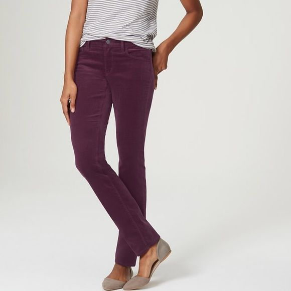 "The perfect pair of corduroy plum pants Sitting lower on the waist - and done in a silhouette-smart skinny cut - this corduroy pair is all grown up. Your perfect fit if your hips are proportionate to your waist. Front zip with button closure. Wide belt loops. Five-pocket styling.  98% COTTON, 2% SPANDEX IMPORTED MACHINE WASHABLE 28 1/2"" INSEAM LOFT Pants Skinny"