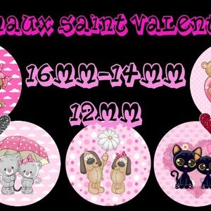 "60 images digitales - cabochon - bijoux - scrapbooking - collage ""animaux saint valentin 3"" 16mm-14mm-12mm + 1 planche gratuite"