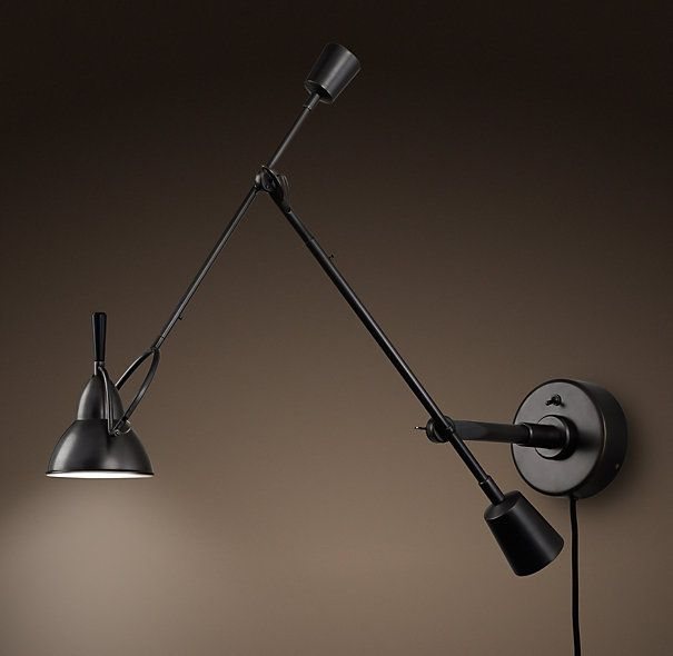 Restoration Hardware Discontinued Lighting: Counterpoise Swing-Arm Wall Sconce Bronze