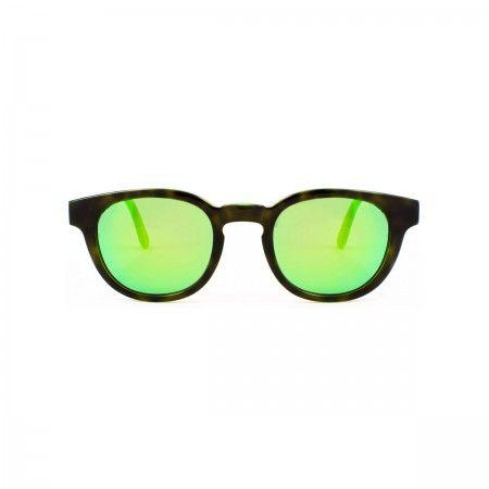 Rich Feller sunglasses with a fluoline camo green frame. Mirror green lenses.