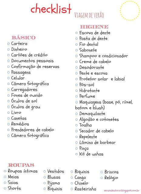 Checklist para viagem de verão