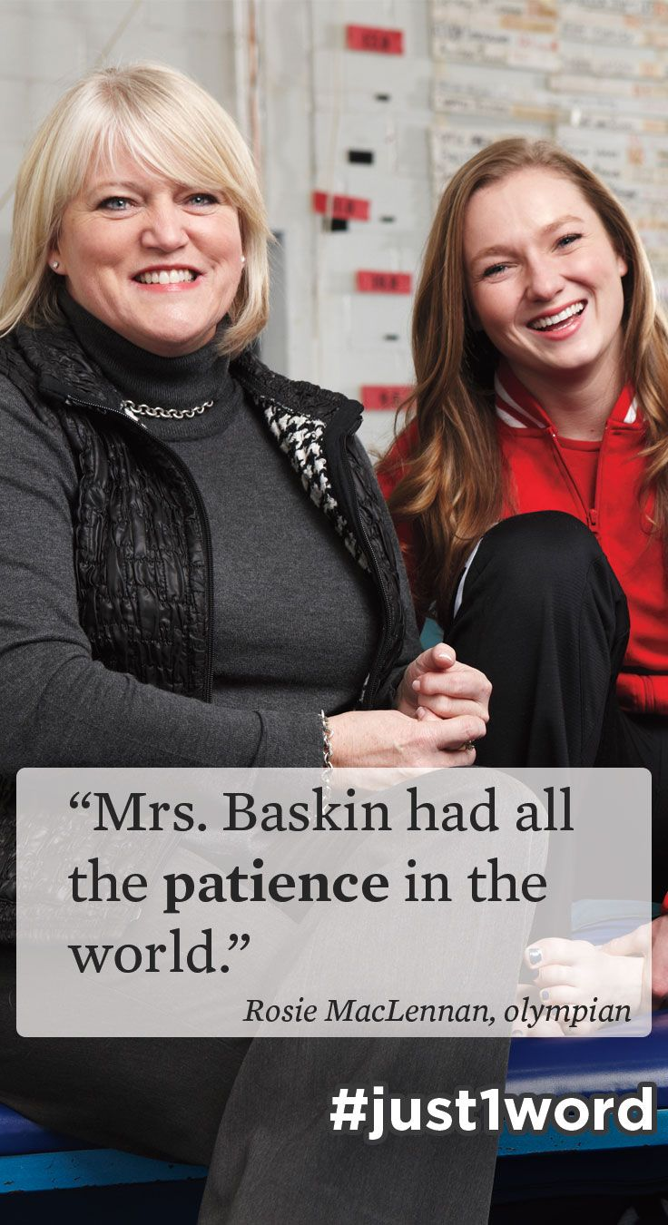 """Happy World Teachers' Day! #RosieMacLennan's Grade 5 teacher helped her achieve #Olympic dreams and #trampoline queen status. """"Mrs. Baskin was very open to conversation — that was the first thing we noticed. She would guide us rather than order us. She was encouraging and positive. And she had all the patience in the world."""" #just1word #worldteachersday #olympian #Canadian #gymnast #worldchampion #athlete #sports"""