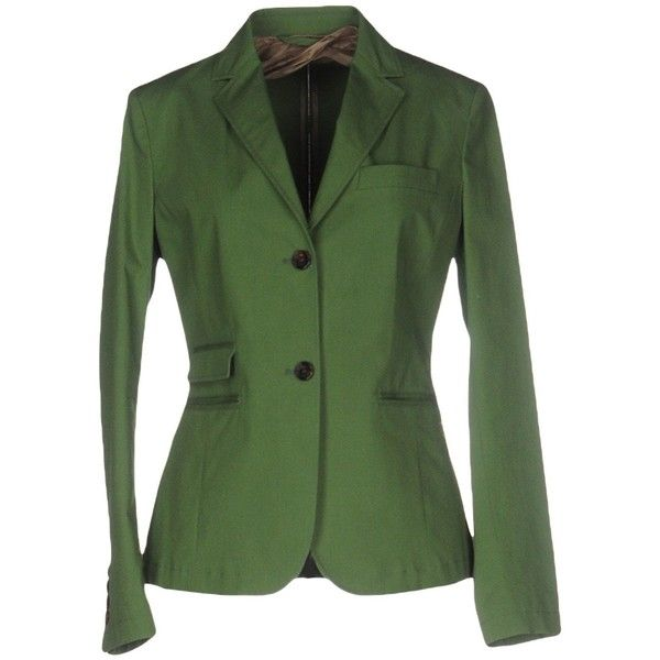 Allegri Blazer ($305) ❤ liked on Polyvore featuring outerwear, jackets, blazers, military green, cotton blazer, collar jacket, army green jacket, green blazer jacket and green military jacket