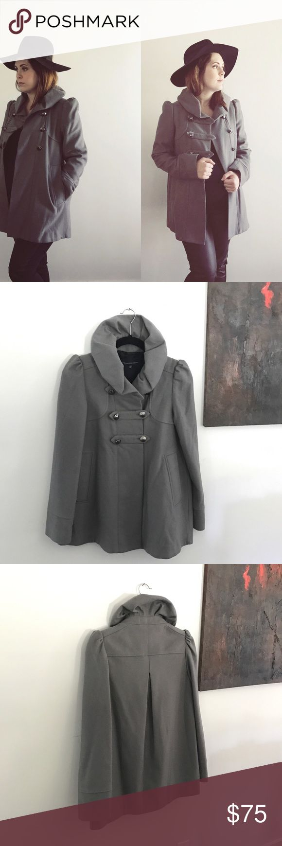 "▫️French Connection Gray Wool Coat▫️ ➕FC coats range anywhere from $200 up to $360+ 👉🏼so the listed price here is firm👈🏼 ➕No visible wear//gently worn for one season ➕Double-breasted A-line style ➕Slightly Oversized ➕Purchased via ASOS ➕Cap sleeves ➕Military-inspired style  Product Details  ➕Shoulder to hem 28.5"" ➕Across bust 18"" ➕Shell: 80% virgin wool//20% polyamide/nylon ➕Lining: 100% acetate ➕Dry clean only ASOS Jackets & Coats Pea Coats"