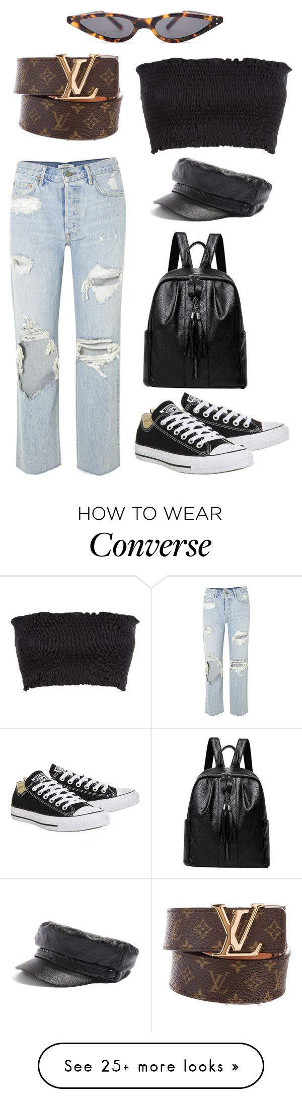 """lv"" by eboony800 on Polyvore featuring GRLFRND, Louis Vuitton and Topshop"