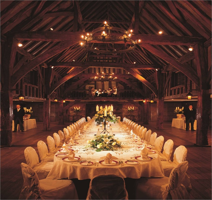 Gorgeous venue for a wedding, a weekend getaway near London, or just afternoon tea. The Tithe barn at Great Fosters