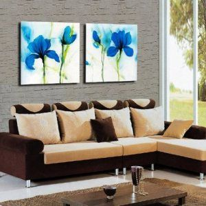 Blue-abstract-flowers-up-wall-Dcor-Art-Canvas-Print-Set-of-2-with-No-Inside-Frame-and-No-Outside-Frame-0
