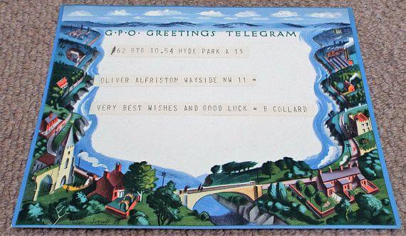 Vintage 1939 GPO Greetings Telegram  Post Office  Alan