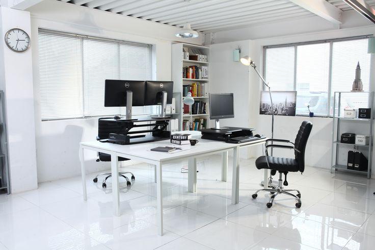 The VARIDESK Pro stand up desk looks stunning here with two large dual monitors - #standupdesks - http://uk.varidesk.com/varidesk-pro