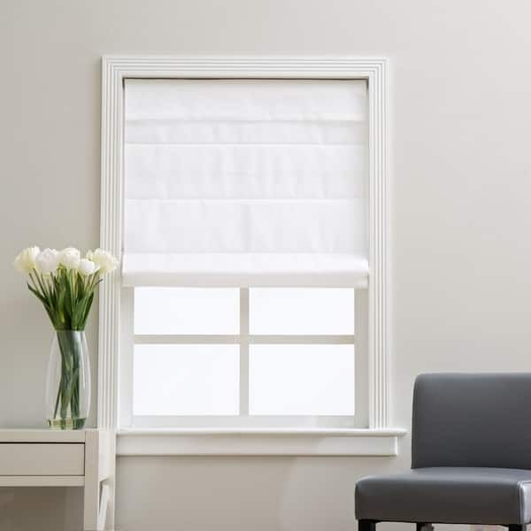 Arlo Blinds Cloud White Cordless Lift Fabric Roman Light