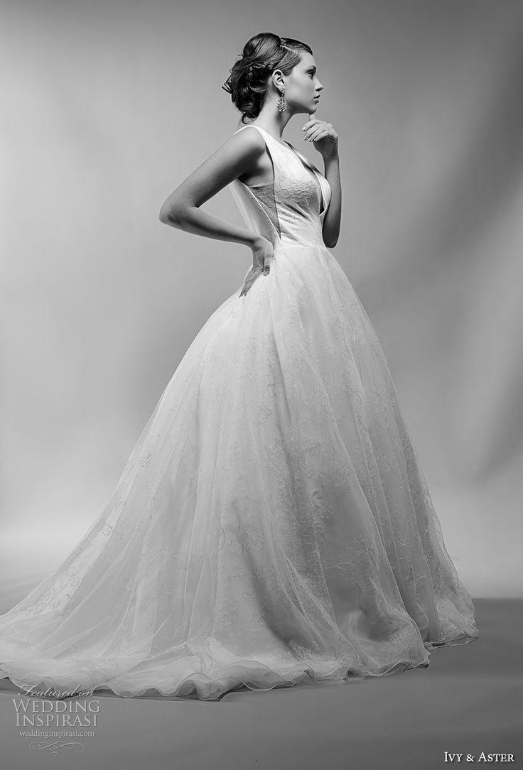 ivy and aster spring 2018 bridal sleeveless deep v neck lightly embellished bodice princess ball gown wedding dress open v back chapel train (martine) mv -- Ivy